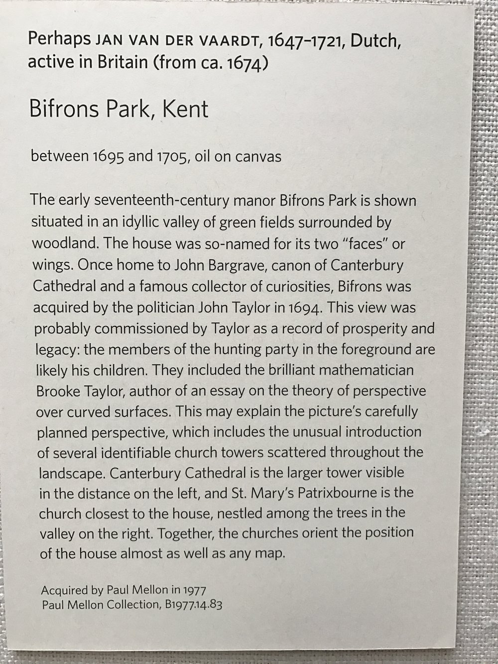 The Yale Center for British Art's label for  Bifrons Park, Kent,  the painting shown above.