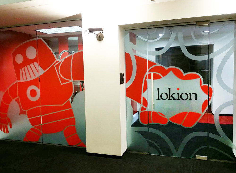 Lokion Etched Glass w/ Vinyl Graphics