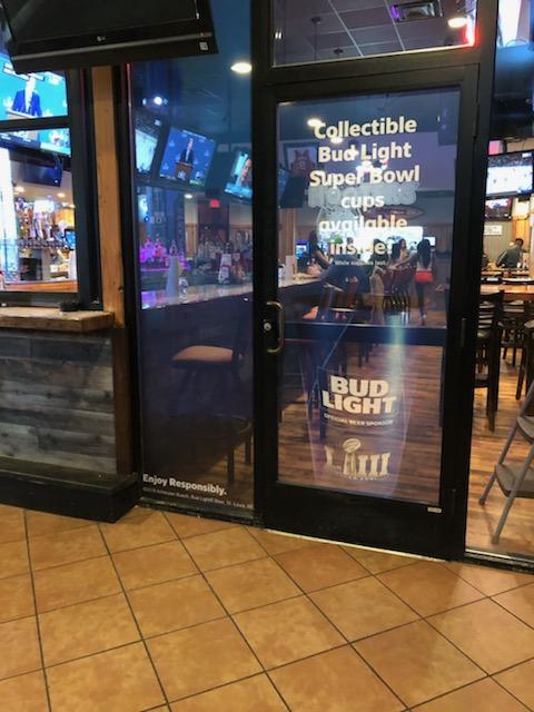Anheuser-Busch-Super-Bowl-LIII_Hooters-Restaurant_Window-Graphics_Events_LSIGraphics_Atlanta-GA ..