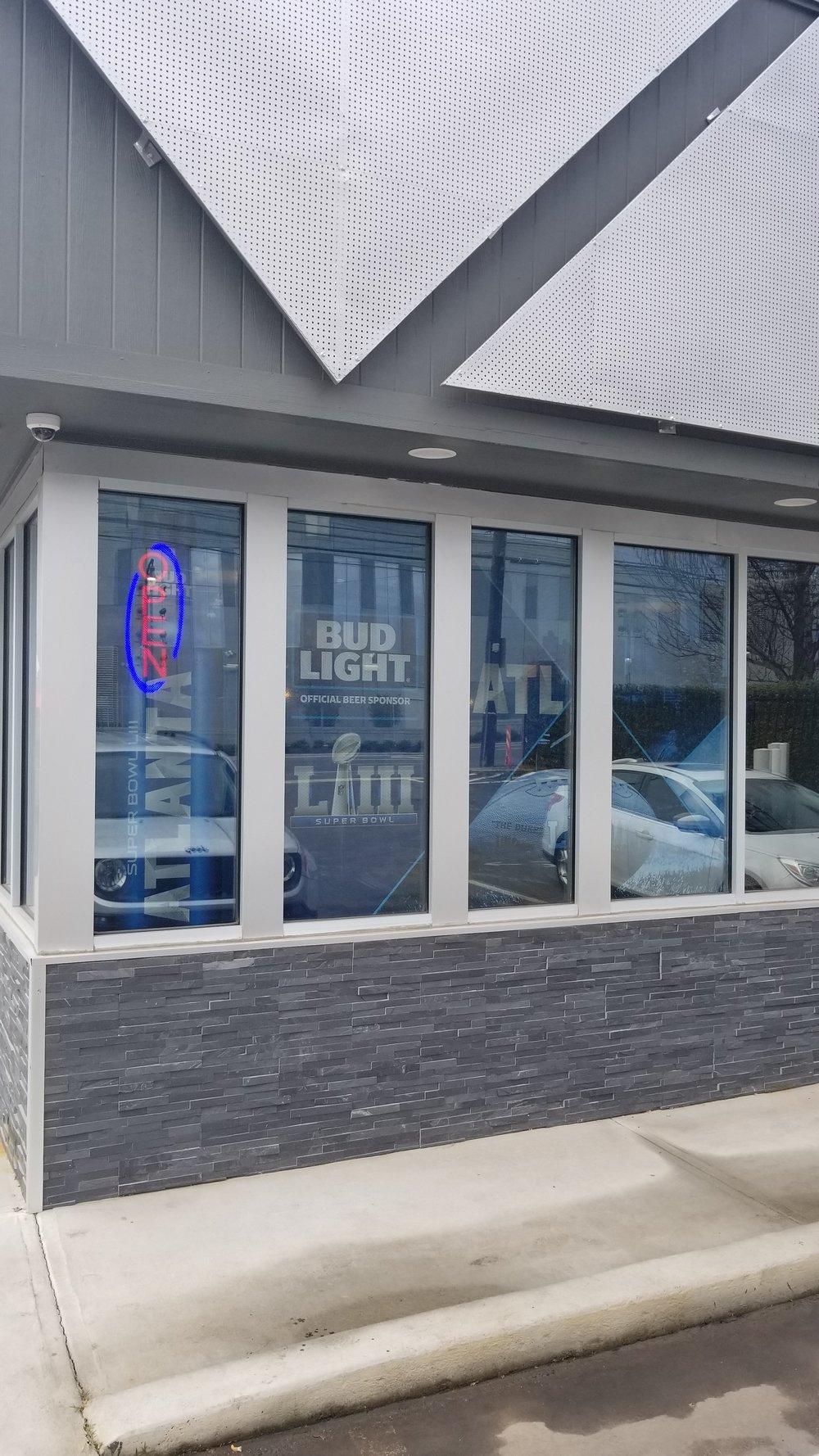 Anheuser-Busch-Super-Bowl-LIII_Restaurant-Ten_Window-Graphics_Events_LSIGraphics_Atlanta-GA ..