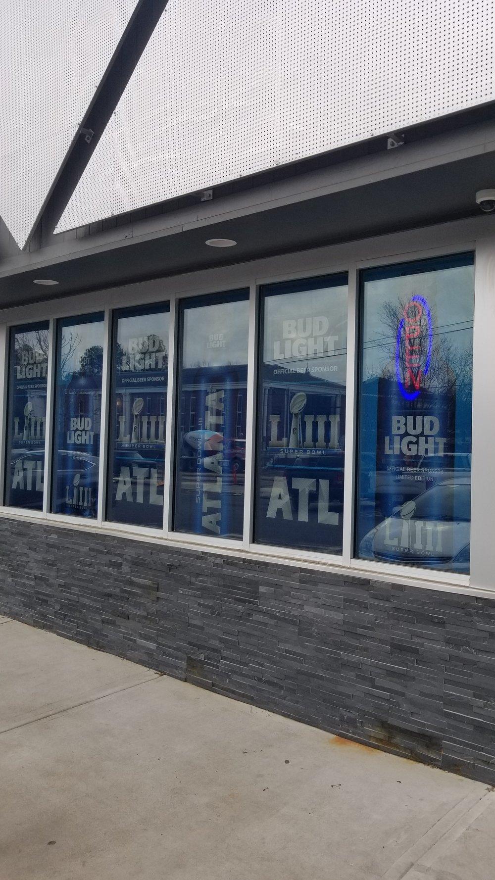 Anheuser-Busch-Super-Bowl-LIII_Restaurant-Ten_Window-Graphics_Events_LSIGraphics_Atlanta-GA_2 ..