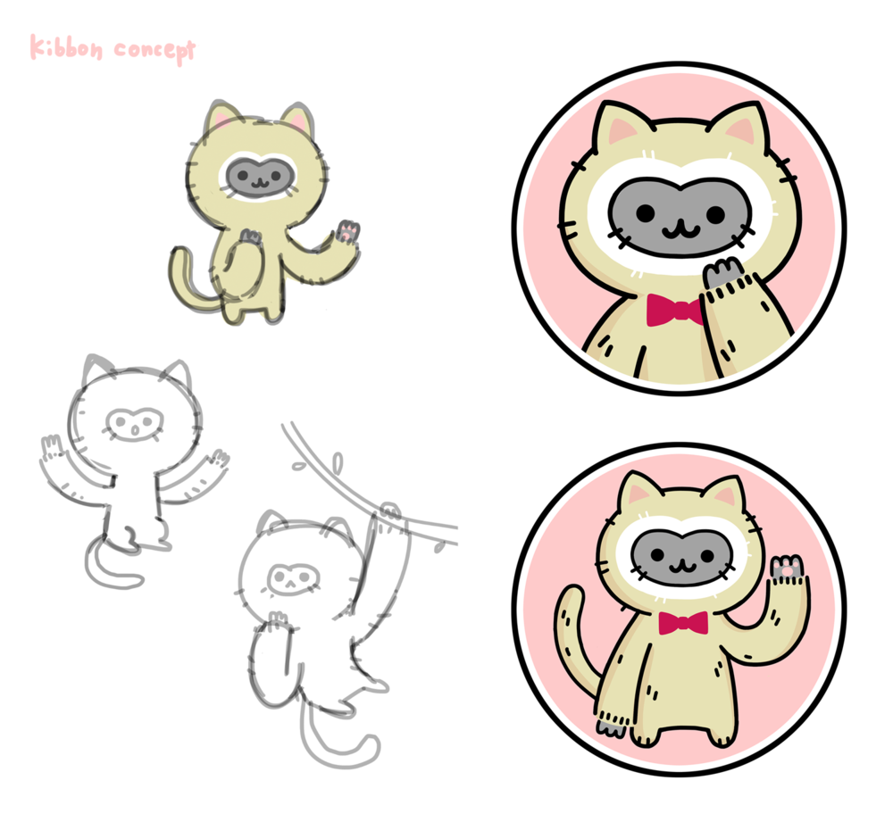 """""""Kibbon"""" character concepts for in-game shop mascot."""