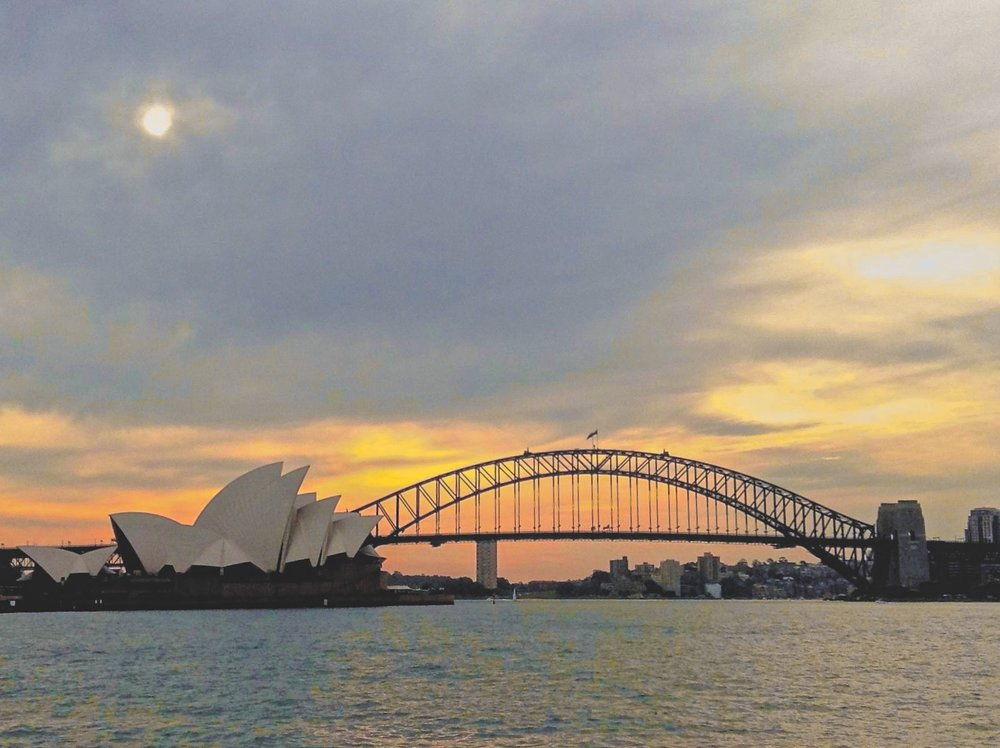 Hazy Sun above Sydney Harbour & Opera House