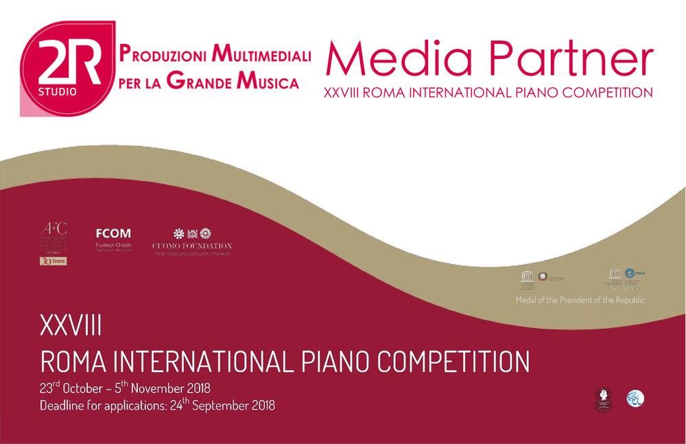 XXVIII Roma International Piano Competition - 2R Studio Produzioni Multimediali sarà Media Partner al prestigioso concorso pianistico perla finale con orchestra dal Teatro Quirino il 5 novembre 2018 - Roma