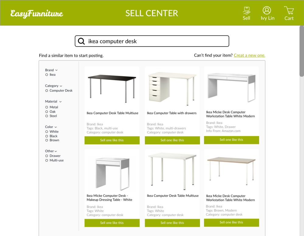 Search for Items - Sellers can search items that they initially bought online to get their information, which will be used to fill in the product description for listings. It ensures the accuracy of information and saves users time.