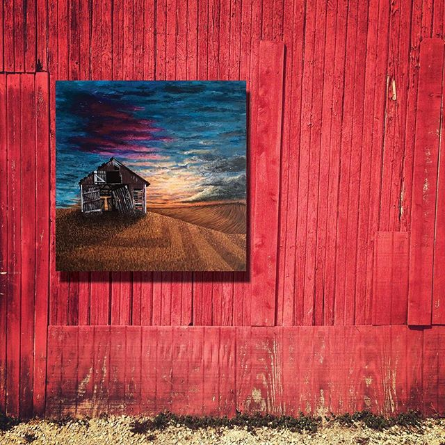 """I've never captured 📸 this sunset behind this barn all the times it took my breath away - but I've seen it enough times to give you the best of all my memories of them 😍 """"Something old but forever anew""""  36x36 acrylic on canvas dM for inquires * * * * * * #acrylicpainting #canvasart #instagood #artoftheday #beautiful #sunset #cloudporn #myart #original #views #happyplace #favorite"""