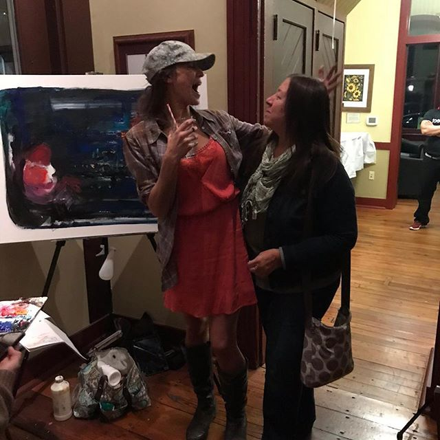 Women's history month... let me tell you about my history.  It started with this beautiful soul here.  Where the hell would I be without her loving, sometimes nagging support all these years?  So here's a shot of my mama supporting me at a live paint charity event supporting breast cancer awareness!!!😍⠀ *⠀ *⠀ *⠀ *⠀ *⠀ *⠀ *⠀ #tbt #throwback #womenshistory #mom #livepaint #charityevent #womensupoortingwomen #strength #acrylicartist #artistsofinstagram #visualart