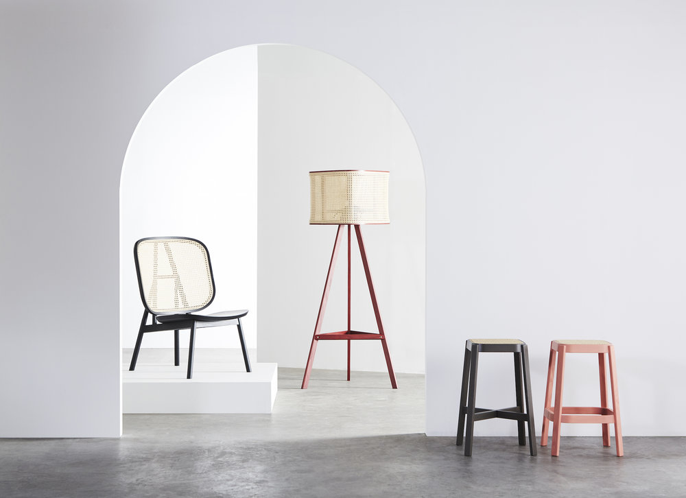 Cane Lounge Chair - 01  (Charcoal Black) /  Cane Lamp - 01  (Dark Red) /  Cane Stool  (Charcoal Black and Coral Pink)