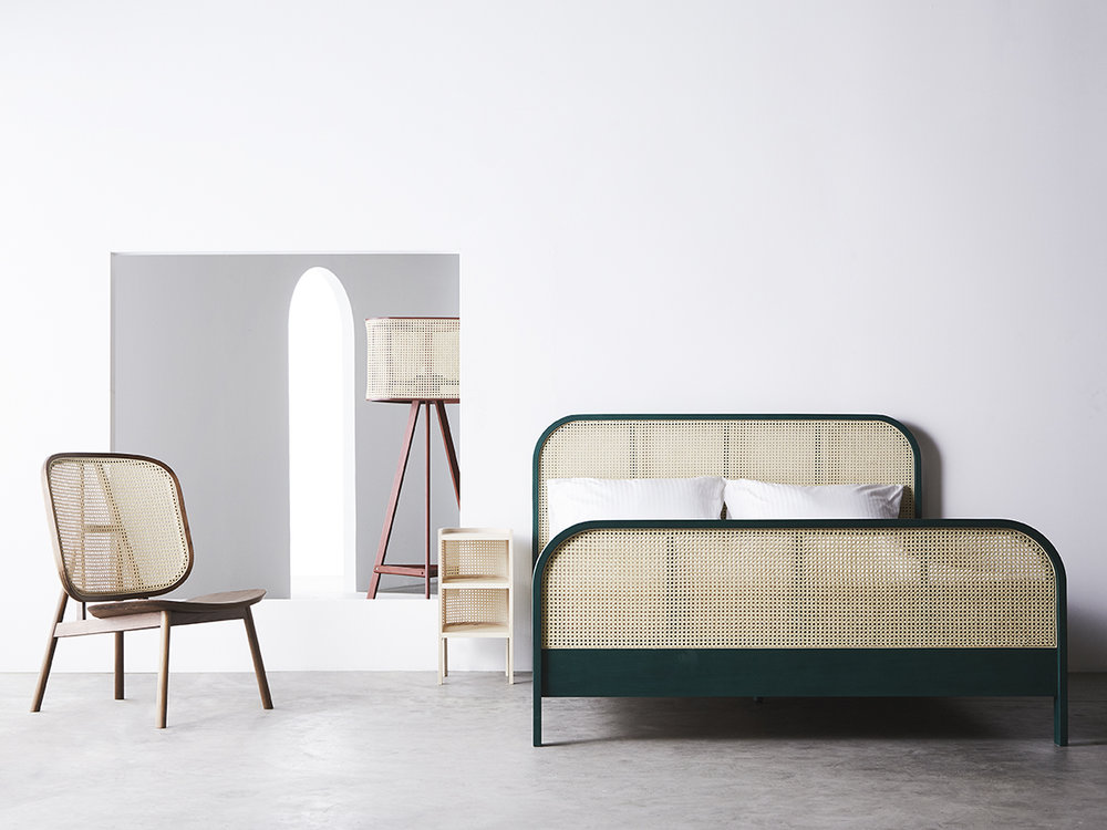 Cane Lounge Chair - 01  (Natural Walnut) /  Cane Lamp - 01  (Dark Red) /  Cane Night Table - 01  (Natural Ash) /  Cane Bed - 01  Queen (Tropical Green)