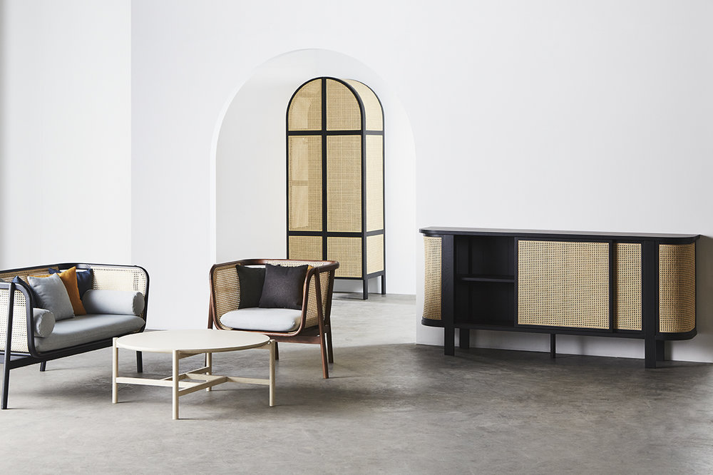 Cane Sofa - 02  (Charcoal Black) /  Cane Sofa - 02 One seater  (Natural Walnut) /  Cane Center Table - 02  (Noce White #2) /  Cane Wardrobe - 02  (Charcoal Black) /  Cane Console - 01  (Charcoal Black)