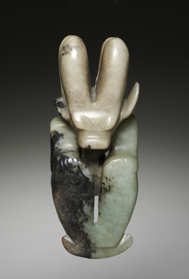seated figure with bovine head, nephrite, Hongshan culture (4700-2920 BCE), Northern China, Cleveland Museum of Art
