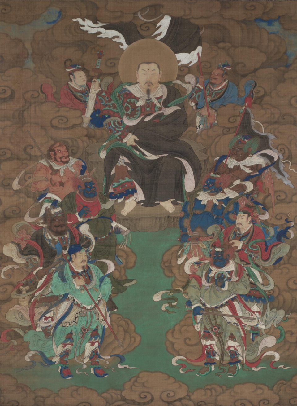 Zhenwu with an entourage of thunder marshals, early 15th century, Herbert F. Johnson Museum of Art, Cornell University