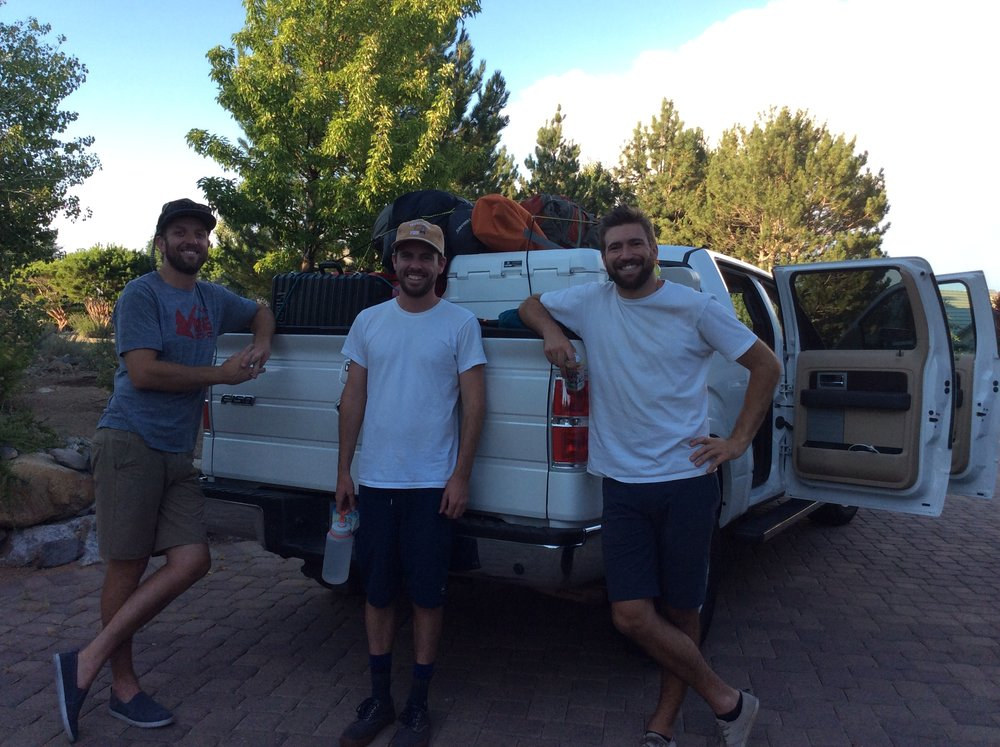 From left to right: Joe, Ryan, and Kyle departing for the Henry Mountains and over two weeks of backcountry filming.