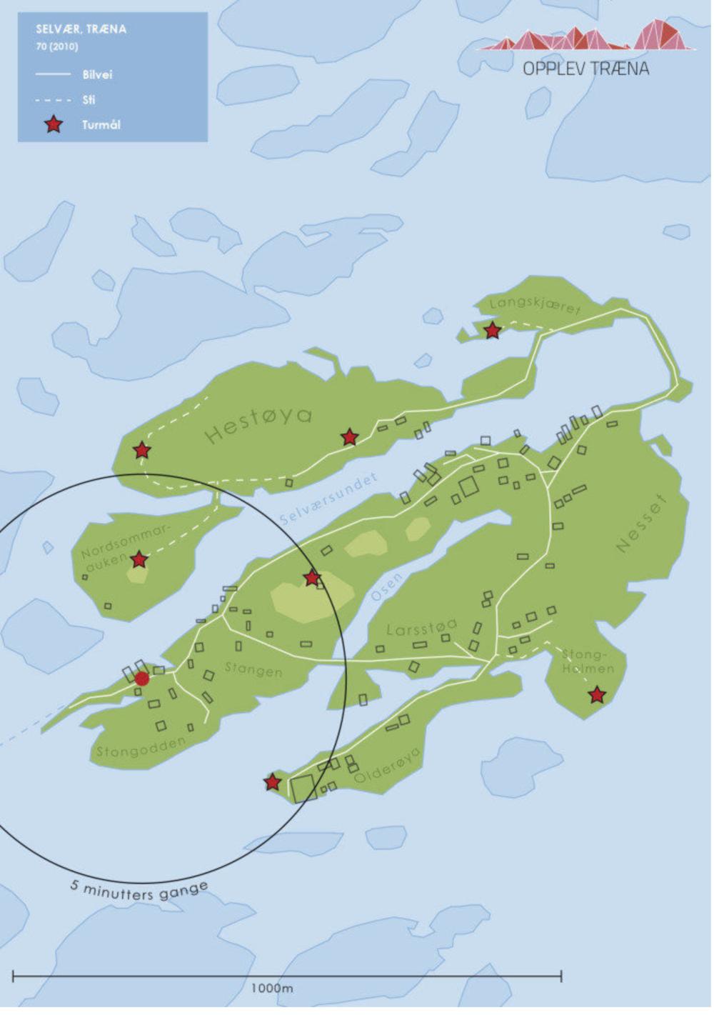 Selvær med bebyggelse, veier og stier:  Sentrum for sirkelen er hurtigbåtkaia. Den lengste vandringen er nok til grillhytta - et flott utsiktspunkt og trivelig rasteplass med ly for været - som ligger på toppen av Nordsommarauken. Den turen tar en halvtimes tid.  OBS!  De mellomblå feltene rundt Selvær, er alle holmer rundt oss, og  ikke  dypere vannlag.