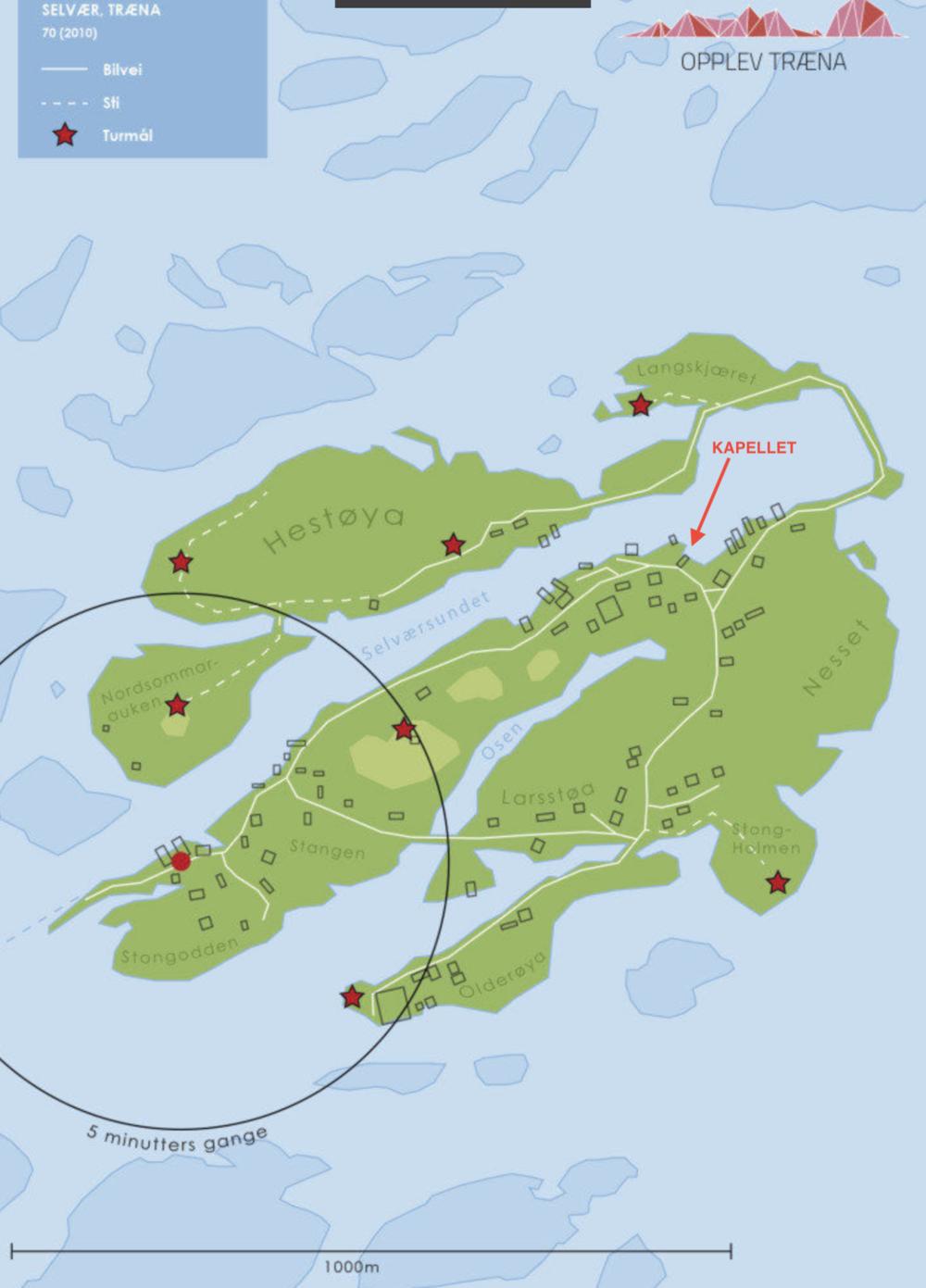 Det er en rusletur på 10-12 minutter fra hurtigbåtkaia til Fiskernes kapell.