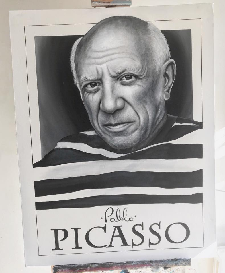 Pablo Picasso painted by Emil. Photo: https://www.facebook.com/emil.gronholm.1
