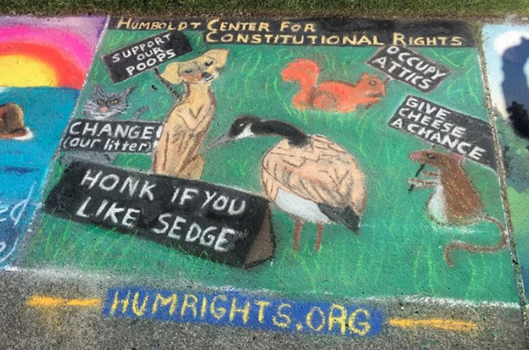 Pastels on the Plaza - For more than seven years, HumRights has sponsored a square at Pastels on the Plaza, which raises money for Northcoast Children's Services. At HumRights we believe that no one is too young to learn about their rights under the U.S. Constitution.