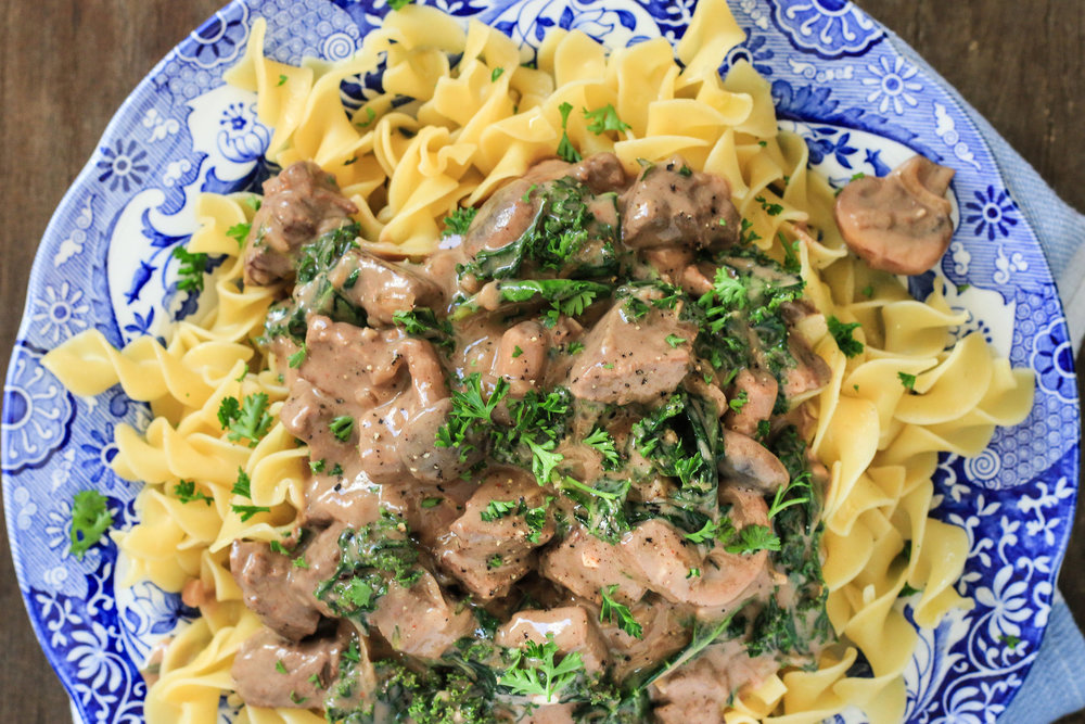 Beef Stroganoff On Egg Noodles