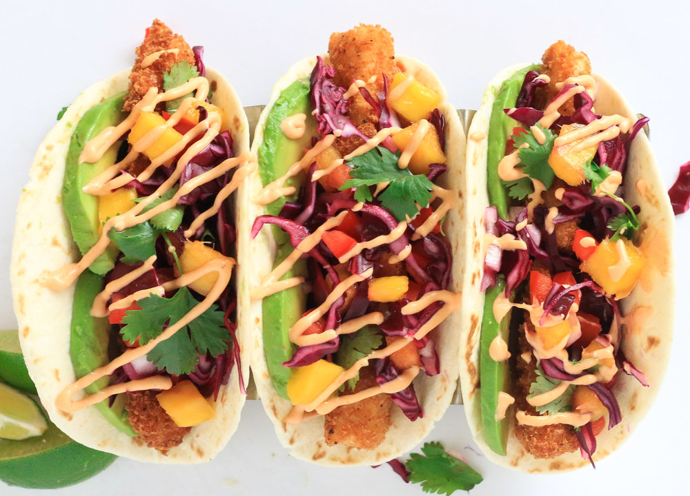 Fried Fish Tacos with Mango Slaw