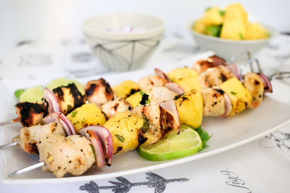 Jalapeño Lime Chicken and Pineapple Skewers