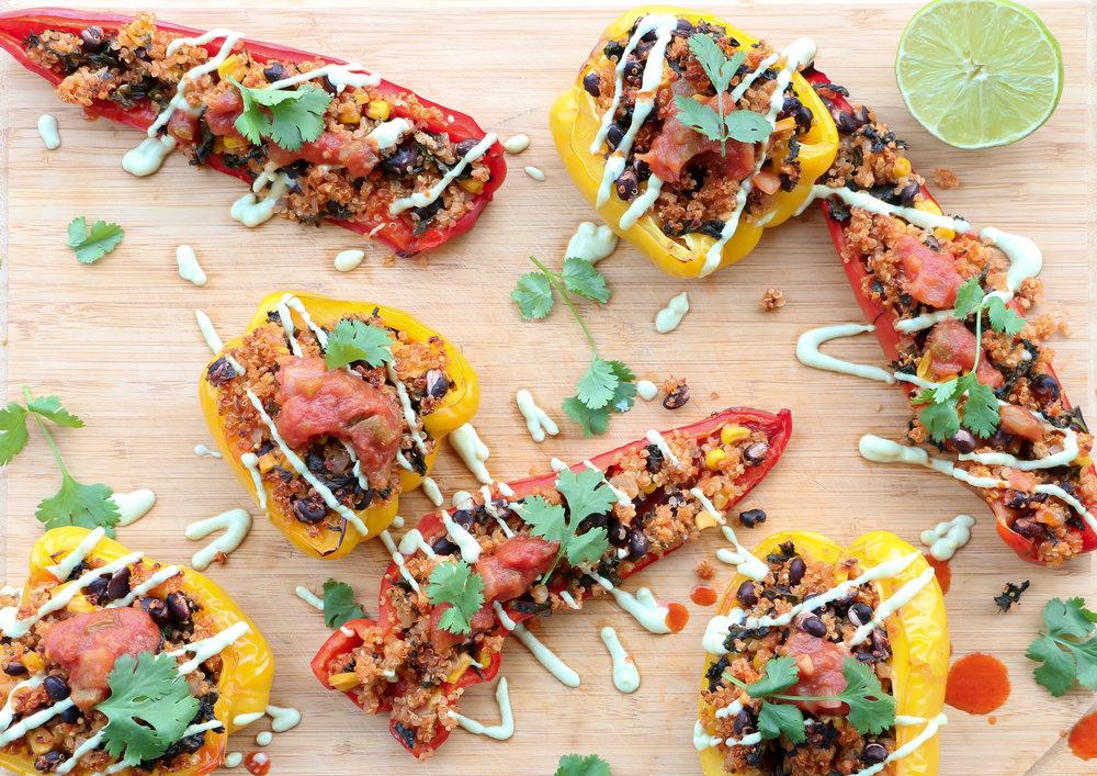 "Vegan Stuffed Peppers with Avocado ""Sour Cream"""