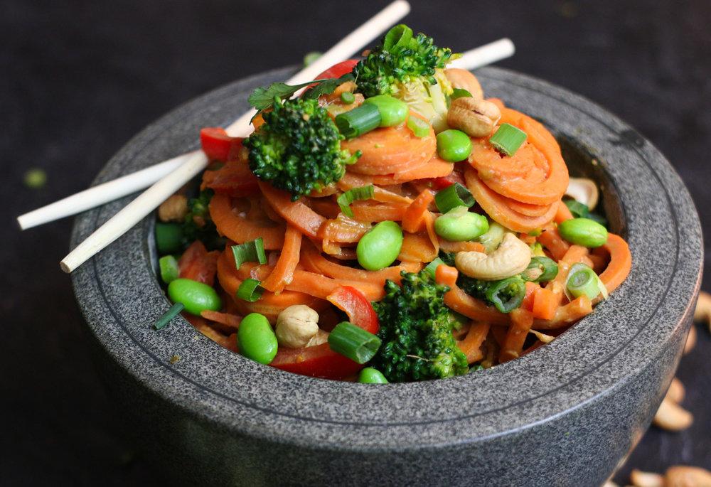 Peanut Satay Yam Noodle Bowls