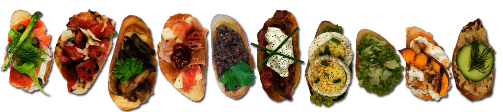 Crostini are labelled from 1-10 starting from the left and moving to the right.