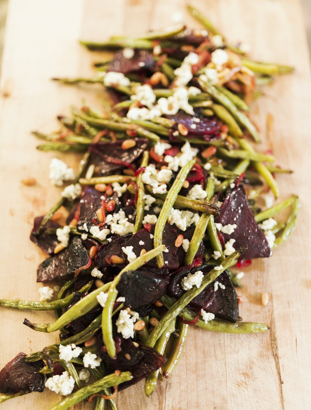 Roasted Green Beans with Beets, Gorgonzola and Toasted Pine Nuts