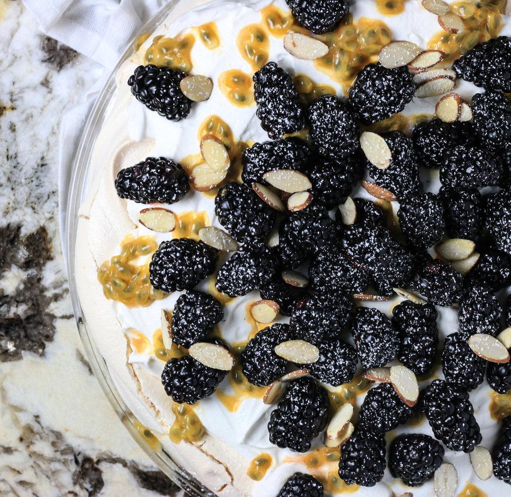Blackberry Passion Fruit Pavlova