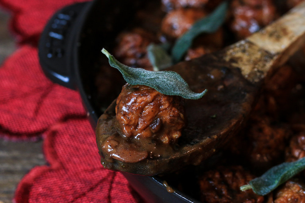 "Veggie ""Meatballs"" with Mushroom Gravy & Fried Sage"