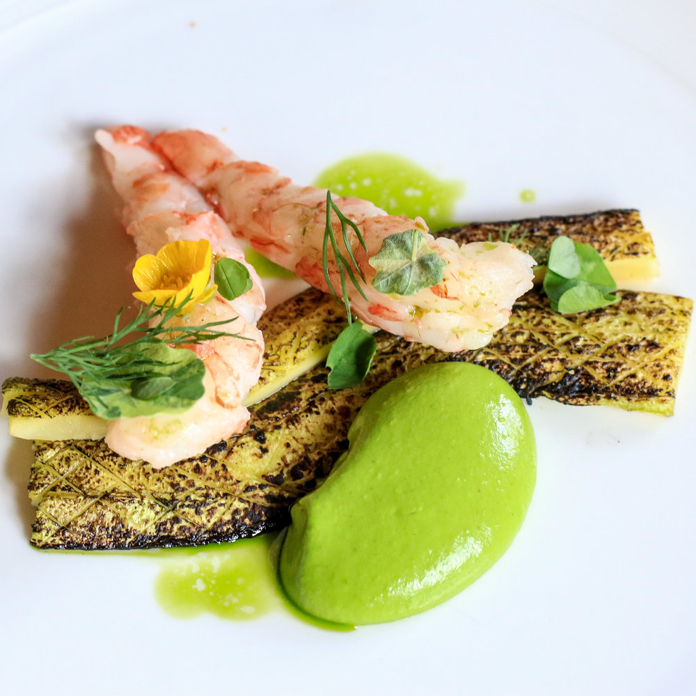Charred summer squash, squash skin green goddess, poached shrimp, nasturtium, basil