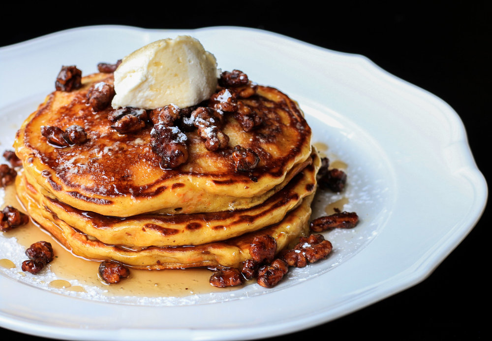 Carrot Cake Pancakes with Maple Mascarpone Topping