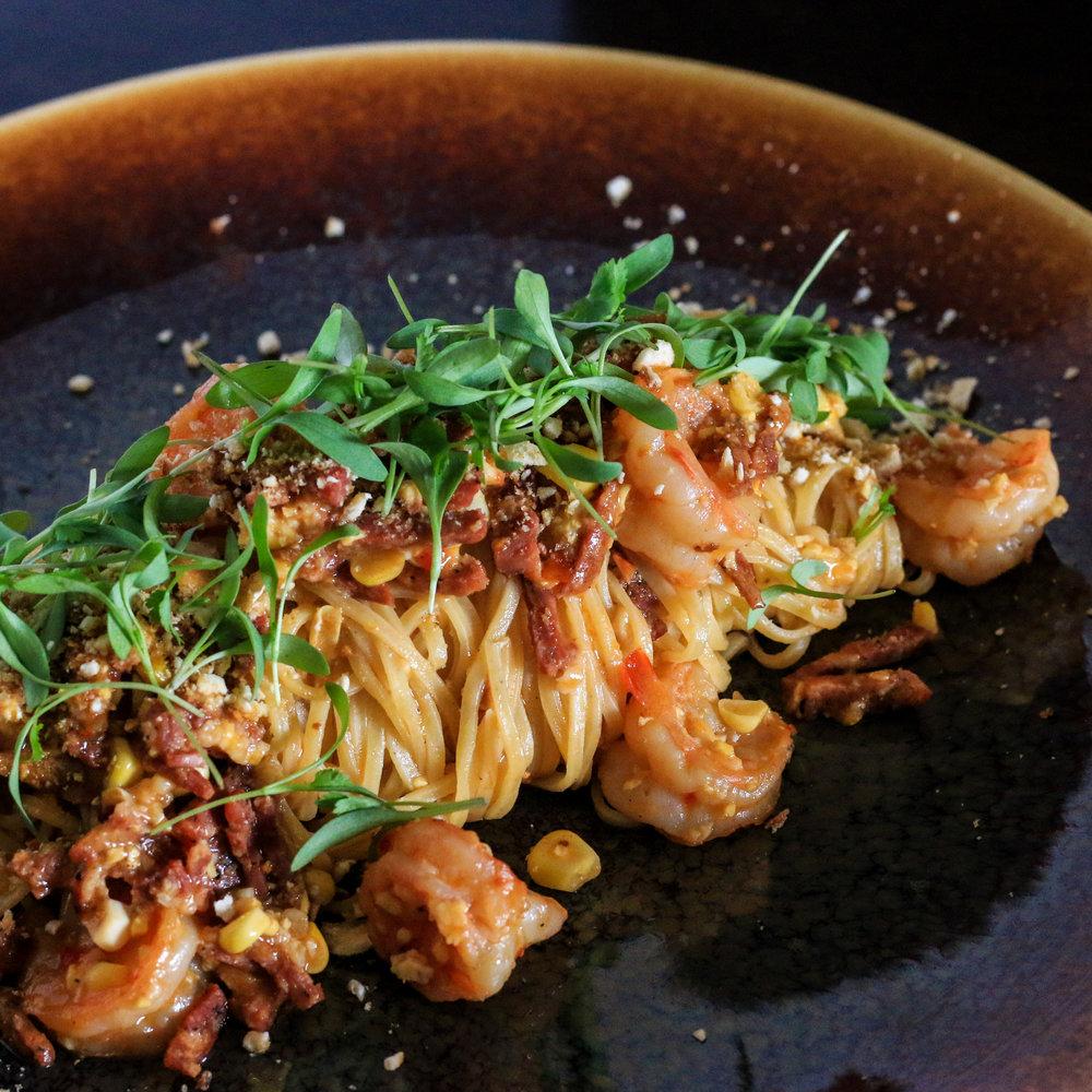 Spaghetti alla Chitarra with Prawns and Sopressatta