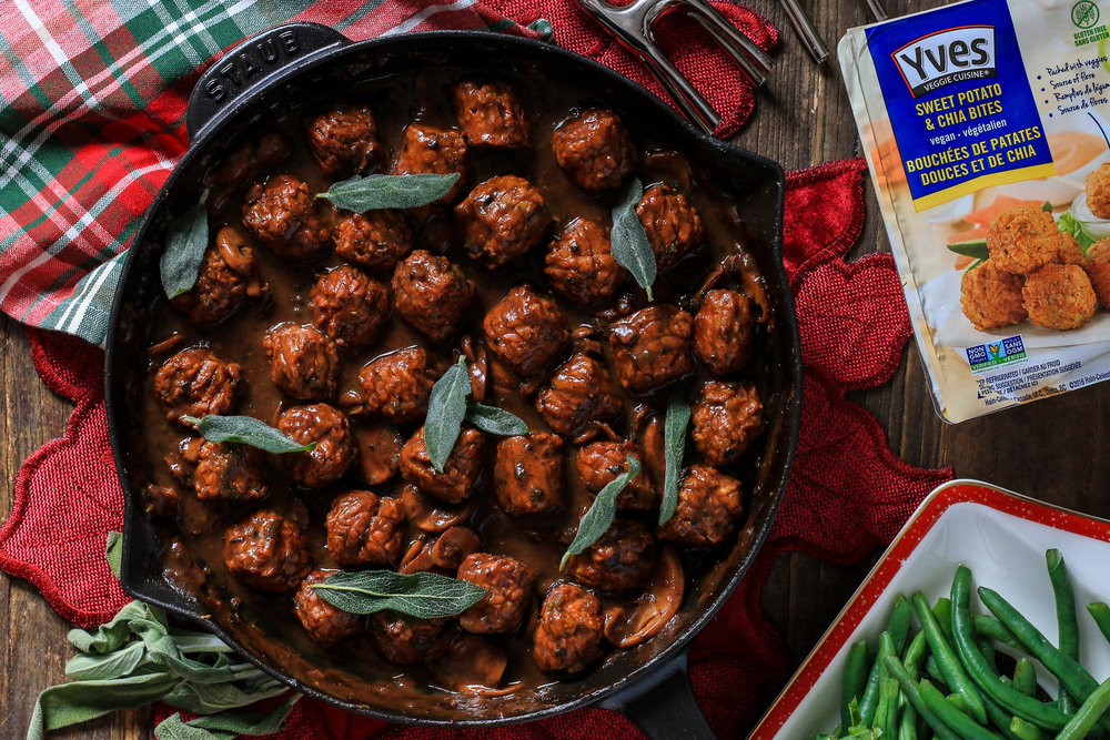 "Veggie ""Meatballs"" with Mushroom Gravy & Fried Sage"