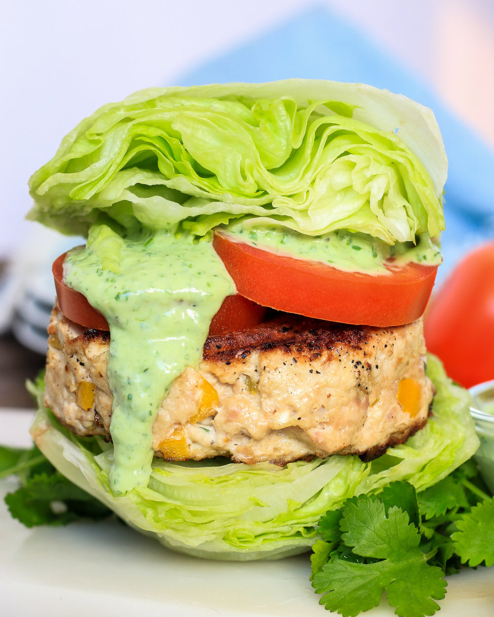 Healthy Greek Turkey Burgers with Green Goddess Dressing