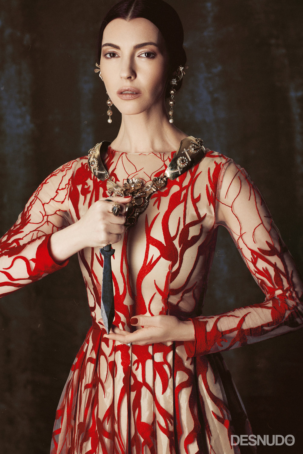 dress  ALCOOLIQUE MILANO , necklace and earrings  MAISON LUIGI BORBONE , ring  ALESSANDRA AIARDO JEWELS