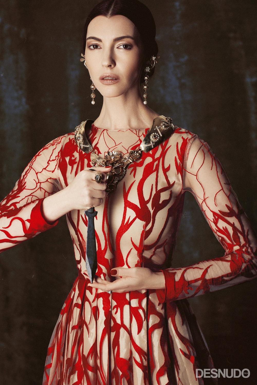 dress  ALCOOLIQUE MILANO , necklace and earrings  MAISON LUIGI BORBONE , ring  ALESSANDRA AIARDO JEWELS