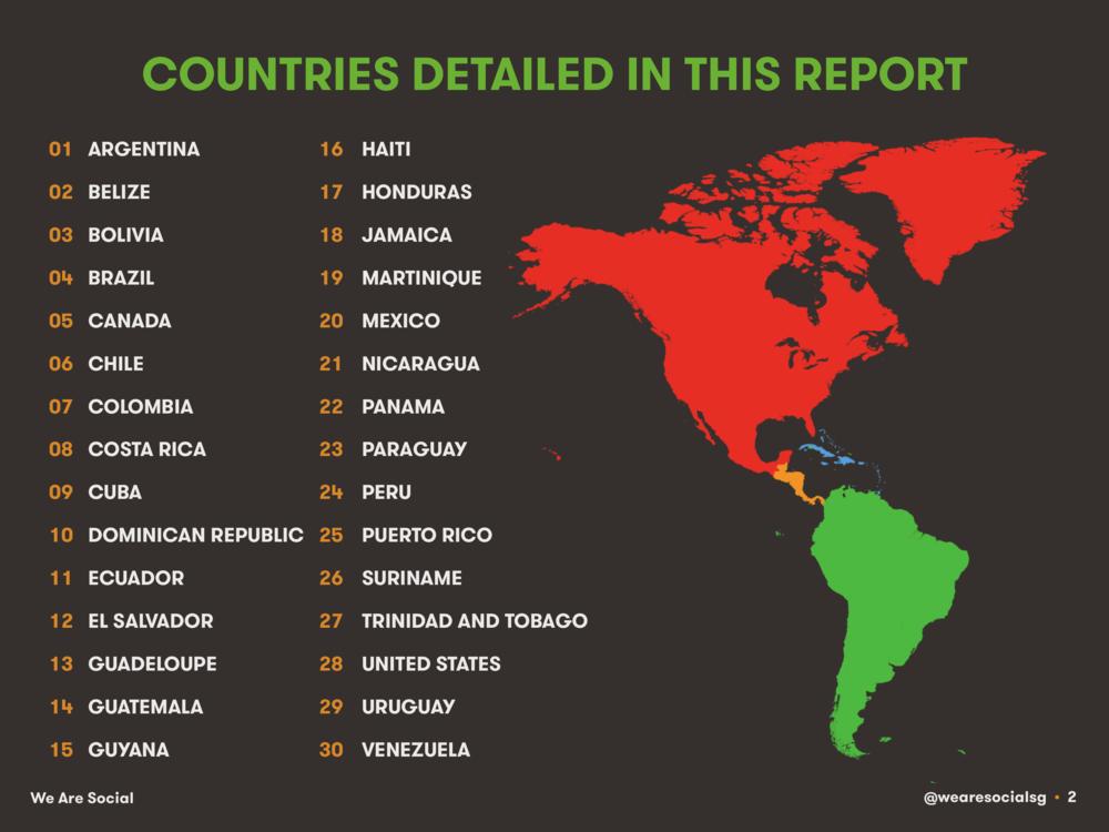 Countries in DataReportal's Digital 2014 Americas Regional Report