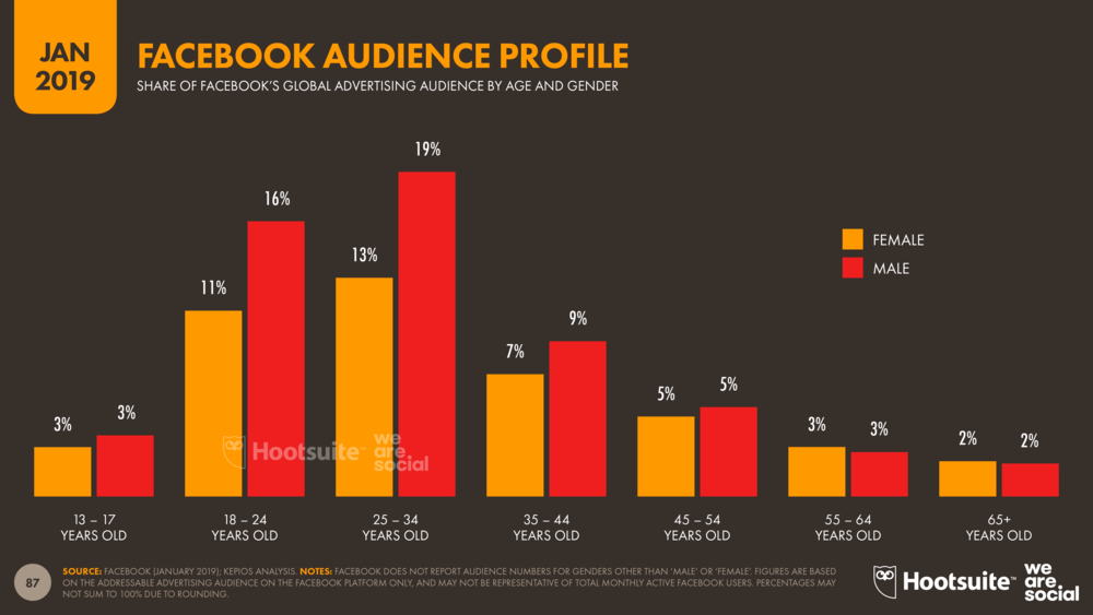 Facebook Audience Profile by Age and Gender January 2019 DataReportal