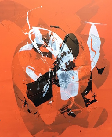 RICHARD MARTIN    Orange Spray   acrylic on canvas under perspex  167 x 137 cm