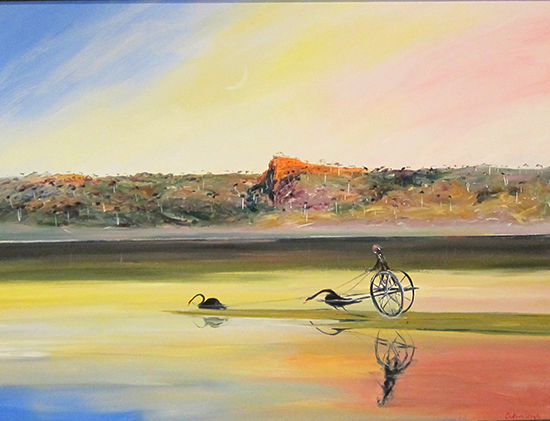 Pulpit Rock  ,   Jinker Pulled by Swans, 1992    Oil on canvas  90 x 122cm   SOLD
