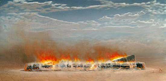 Burning Log    oil on linen  76 x 152 cm   SOLD