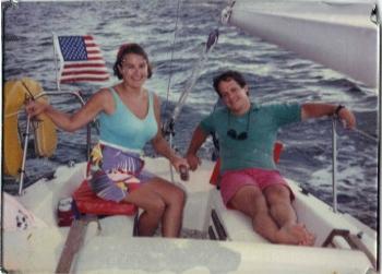 Lisa and I sailing our 19' Starwind sloop - circa 1989