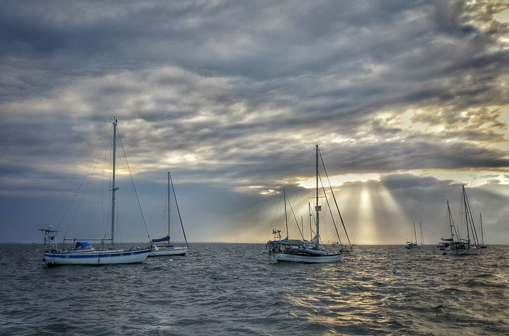 A stormy sunrise in the Dinner Key Mooring Field, just south of Miami on Biscayne Bay…some of our old cruising grounds