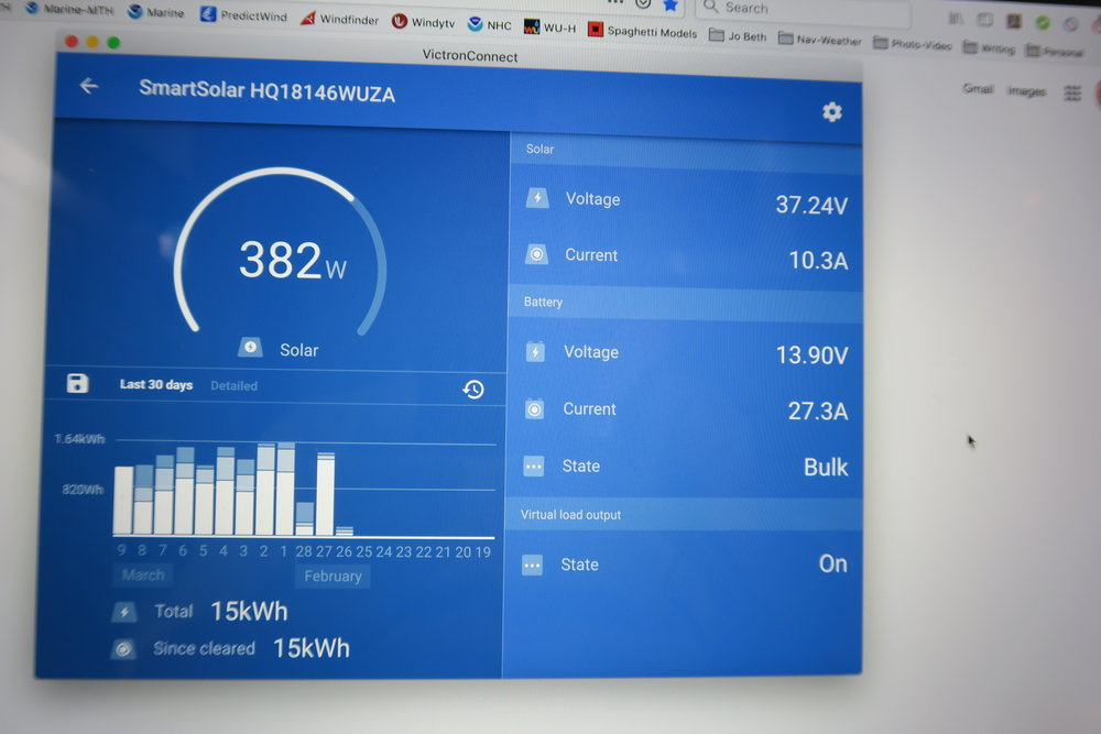 The Victron MPPT Charge Controller App on my Mac laptop…we're utilizing 382 of our available 400 watts…10.3 amps per hour is going into our batteries!