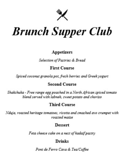 Example brunch menu