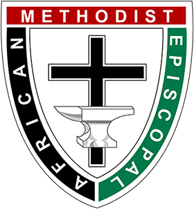 """The AME Symbol   The shape of the emblem is in the form of a three pointed shield; the three points being symbolic of the official motto of the A.M.E. Church. """"God our Father, Christ our Redeemer, Man our Brother."""" The anvil represents the blacksmith shop in Philadelphia, Pennsylvania where the founder, Richard Allen, with a few followers, established the first African Methodist Episcopal Church, the cross represents the Church."""