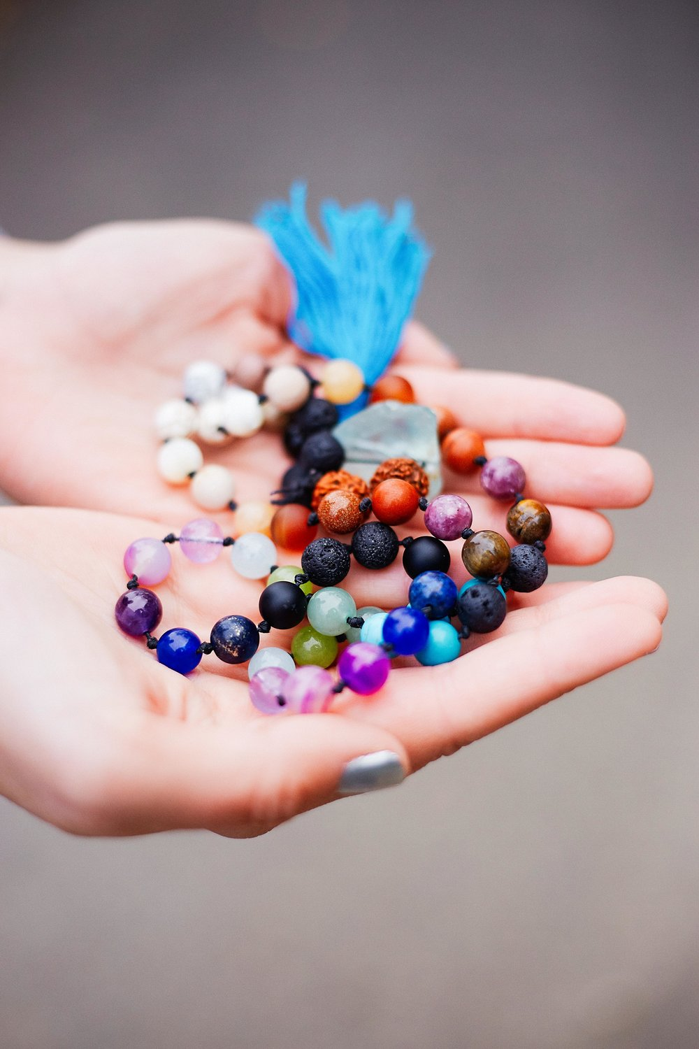 My mala beads given to me during Teacher Training and made by my teacher/friend/boss Sherri.
