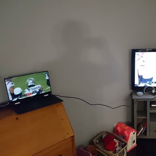 No internet in the new house yet. This is how I watched the game: my laptop to my TV via HDMI while using my phone as a WiFi hotspot. The quality was terrible, but it worked! #gopats #superbowl