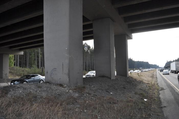 Earth berm under I-5 overpass